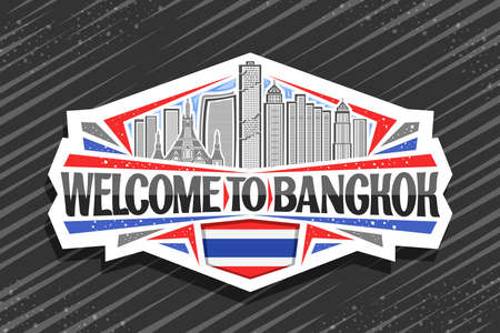Vector logo for Bangkok, white decorative badge with line illustration of modern bangkok city scape on day sky background, tourist fridge magnet with unique letters for black words welcome to bangkok.