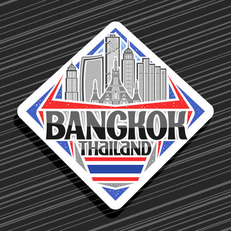 Vector for Bangkok, white road sign with illustration of modern bangkok city scape on day sky background, art design tourist fridge magnet with unique letters for black words bangkok, thailand. 向量圖像