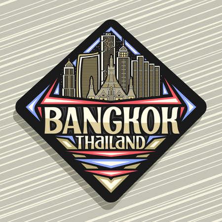 Vector for Bangkok, black road sign with outline illustration of modern bangkok city scape on dusk sky background, art design tourist fridge magnet with unique letters for words bangkok, thailand 向量圖像