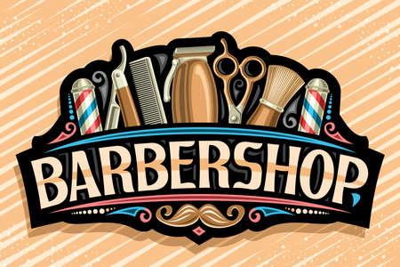 Vector for Barbershop, black decorative sign board with golden professional beauty accessories, unique letters for word barbershop, vintage signage for barber shop parlor with hipster mustache. Vektorgrafik