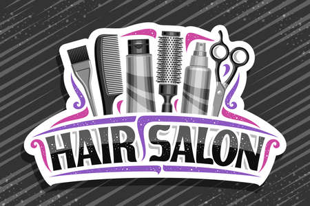 Hair Salon, white decorative sign board with professional beauty accessories, unique letters for black words hair salon, elegant signage for beauty parlor with pink curly flourishes.