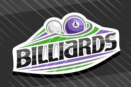 Billiards Sport, white modern emblem with illustration of flying ball in goal, unique lettering for black word billiards, sports sign with decorative flourishes and trendy line art.