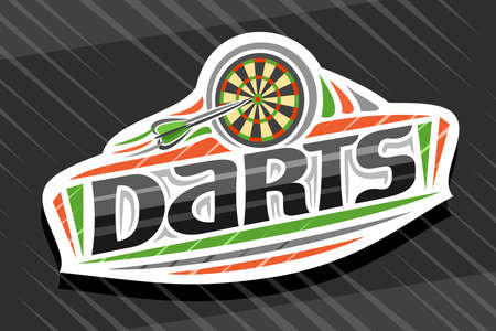Darts Sport, white modern emblem with illustration of flying darts arrow in target, unique lettering for black word darts, sports sign with decorative flourishes and trendy line art. Ilustração
