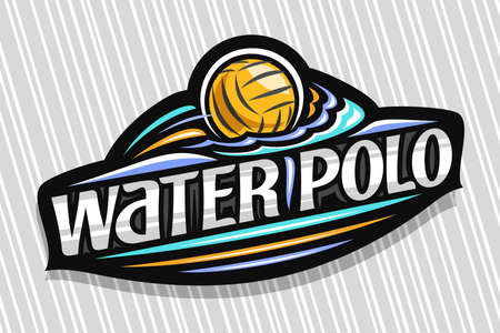 Water Polo Sport, dark modern emblem with illustration of flying ball in goal, unique lettering for gray words water polo, sports sign with decorative flourishes and trendy line art. Vectores