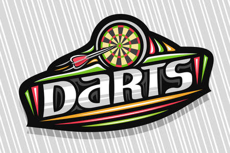 Darts Sport, dark modern emblem with illustration of flying darts arrow in target, unique lettering for gray word darts, sports sign with decorative flourishes and trendy line art.