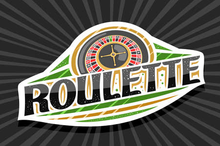 Vector  for Roulette, white modern badge with illustration of top view roulette wheel, unique lettering for black word roulette, gambling sign board with decorative confetti and trendy line art.