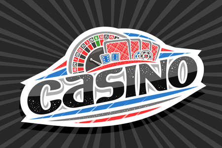 Vector for Casino, white modern badge with illustration of roulette and back playing cards, unique lettering for black word casino, gamble sign board with decorative confetti and trendy line art. Vektorové ilustrace