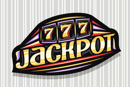 Jackpot, dark modern badge with illustration of slot machine with jackpot on reel, unique lettering for word jackpot, gambling signboard with decorative flourishes and trendy line art.