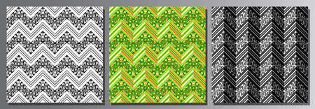 Vector set of Seamless Patterns, 3 square repeating backgrounds of dark variety colors, black and white ornate zigzag seamless pattern, bright green ornament with sophisticated oriental lines and dots