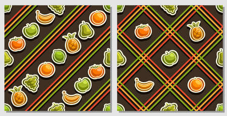 Vector Fruit Seamless Patterns, 2 square repeating fruit backgrounds, set of isolated illustrations of summer fruits on dark background, compatible seamless patterns with colorful lines and lattice. 向量圖像