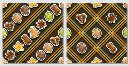 Vector Spice Seamless Patterns, 2 square repeating spice backgrounds, set of isolated illustrations of exotic spices on dark background, compatible seamless patterns with colorful lines and lattice. Imagens - 157739138