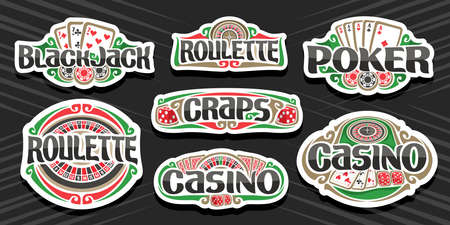 Vector set of Gambling Logos, 7 isolated labels with illustration of gamble symbols, collection of decorative sign boards with vintage design flourishes and unique brush typeface for gambling words.