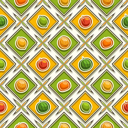 Vector Fruit Seamless Pattern, square repeating fruit background, isolated illustrations of exotic fruits on white background, diamond seamless pattern with flat lay fresh organic produces in cells.