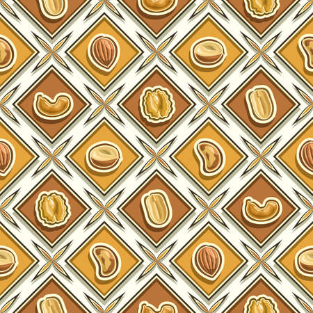 Vector Nut Seamless Pattern, square repeating nut background, isolated illustrations of exotic nuts on white background, diamond seamless pattern with flat lay fresh organic produce in rhomb cells.