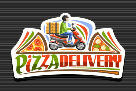 Pizza Delivery, white sticker with illustration of boy in helmet on red motorcycle with pizza boxes, decorative signboard for pizzeria with unique lettering for words pizza delivery. 矢量图像