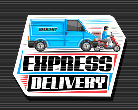 Vector logo for Express Delivery, white sticker with illustration of truck in motion and courier on motorcycle with delivery box, decorative signage with unique lettering for words express delivery. Stock Illustratie