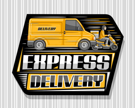 Vector logo for Express Delivery, black label with illustration of truck in motion and driver on motorcycle with delivery box, decorative signage with unique lettering for gray words express delivery. Stock Illustratie