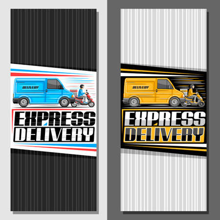 Vector vertical banners for Express Delivery, decorative brochure with illustration of blue truck in motion, yellow rider on motor bike with delivery box, unique lettering for words express delivery.