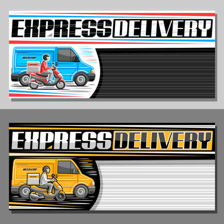 Vector banners for Express Delivery with copy space, sign board with illustration of blue truck in motion, yellow rider on motor bike with delivery box, unique lettering for words express delivery. Stock Illustratie