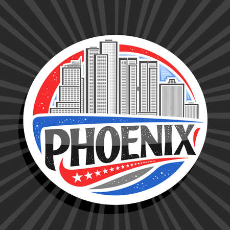 Vector for Phoenix, white decorative badge with line illustration of famous phoenix city scape on day sky background, art design tourist fridge magnet with unique letters for black word phoenix.