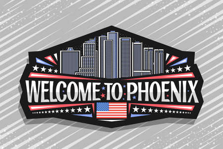 Vector for Phoenix, black badge with outline illustration of famous phoenix city scape on dusk sky background, art design tourist fridge magnet with unique lettering for words welcome to phoenix. 矢量图像