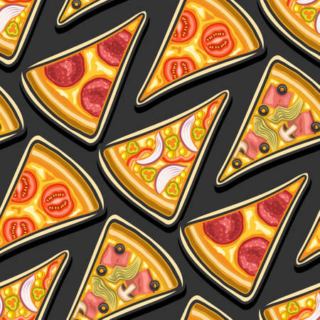Vector Pizza Seamless Pattern, square repeating pizza background, group of cut out illustrations of flat lay triangle pizza slices of assorted types on dark background, pattern for pizzeria tablecloth