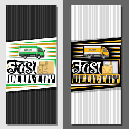 Vector banner for Fast Delivery with copy space, decorative sign board with illustration of side view truck in motion and cardboard boxes, ad brochure with unique lettering for words fast delivery.