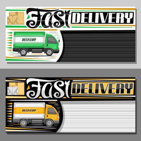 Vector banner for Fast Delivery with copy space, decorative sign board with illustration of side view truck in motion and cardboard boxes, ad voucher with unique lettering for words fast delivery. Stock Illustratie