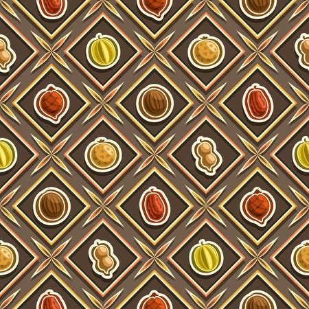 Vector Fruit Seamless Pattern, square repeating fruit background, isolated illustrations of summer fruits on dark background.