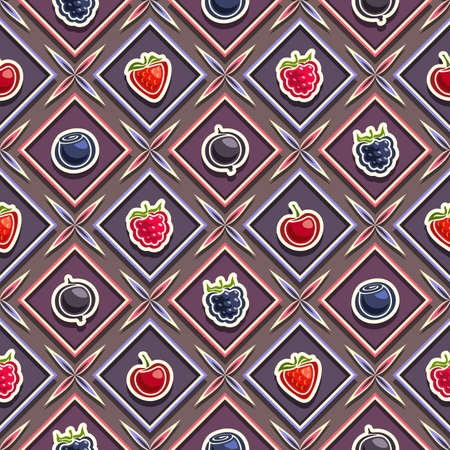 Vector Berry Seamless Pattern, square repeating berry background, isolated illustrations of exotic berries on dark background.