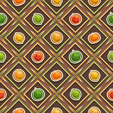 Vector Fruit Seamless Pattern, square repeating fruit background, isolated illustrations of exotic fruits on brown background, diamond seamless pattern with flat lay fresh organic produces in cells.