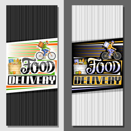 Vector vertical layouts for Food Delivery, decorative leaflet with illustration of bag with groceries, apple and orange, riding bicyclist with delivery backpack, unique letters for words food delivery