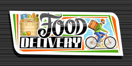 Vector banner for Food Delivery, white decorative signage with illustration of bag with groceries, apple and orange, riding bicyclist with delivery backpack, unique lettering for words food delivery.
