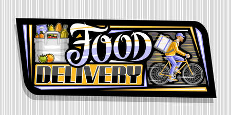 Vector banner for Food Delivery, black decorative signage with illustration of bag with groceries, apple and orange, riding bicyclist with delivery backpack, unique lettering for words food delivery.