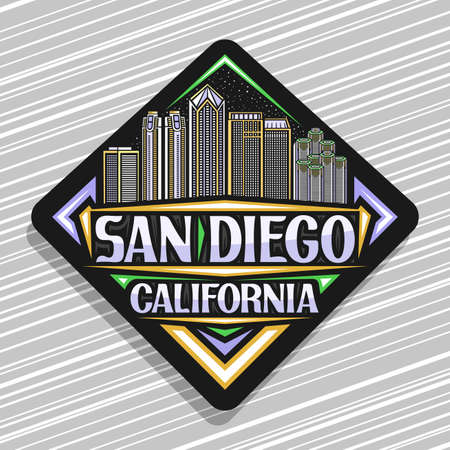 Vector logo for San Diego, black rhombus road sign with outline illustration of american city scape on dusk sky background, tourist fridge magnet with unique lettering for words san diego, california. Ilustração