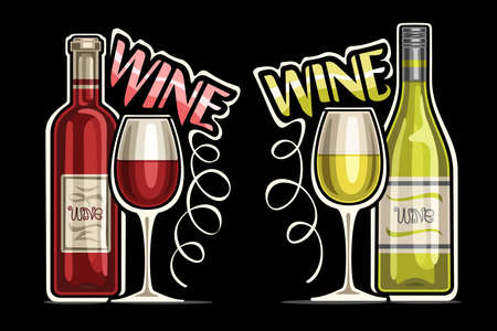 Red and White Wine, outline illustrations of classic wine bottles with decorative label and half full cartoon glasses, unique lettering for pink and green word wine on dark background Illustration
