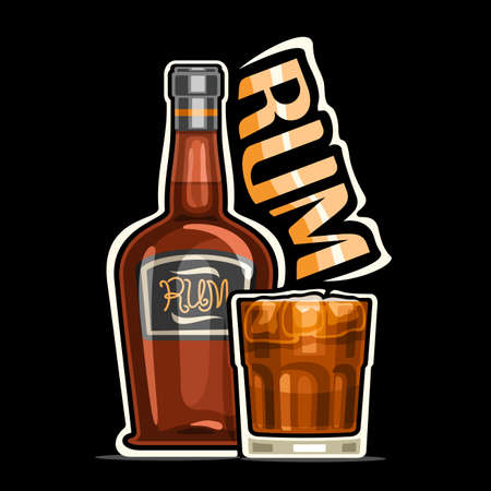 Rum, outline illustration of brown bottle with decorative label and full glass of rum with ice cubes, square placard with unique design lettering for orange word rum on dark background