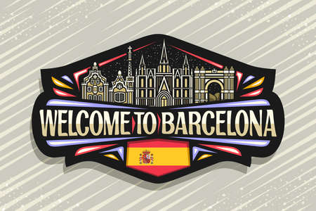 Vector logo for Barcelona, black decorative sign with outline illustration of barcelona city scape on dusk sky background, art design fridge magnet with unique letters for words welcome to barcelona.