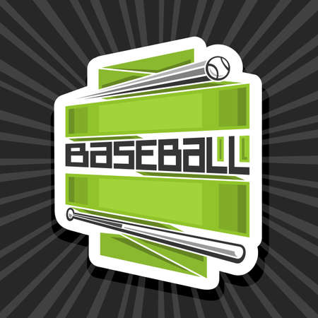 Vector logo for Baseball Sport with copy space, decorative cut paper modern emblem with illustration of flying baseball ball in goal above sport field and unique letters for word baseball. Logo