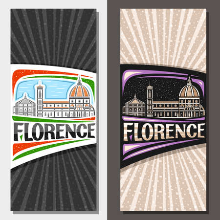 Vector vertical layouts for Florence, decorative leaflet with outline illustration of florence city scape on day and dusk sky background, art design tourist card with unique letters for word florence.  イラスト・ベクター素材