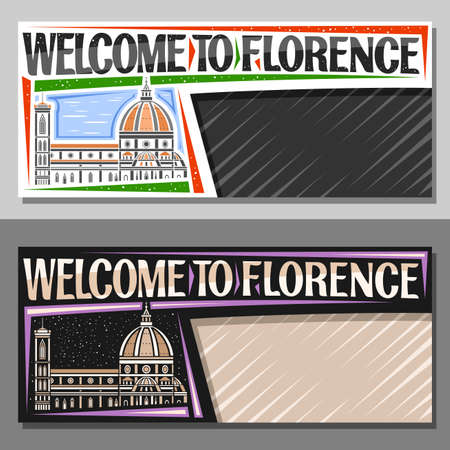 Vector layouts for Florence with copy space, decorative voucher with outline illustration of florence city scape on day and dusk sky background, art design tourist coupon with word welcome to florence