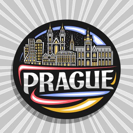Vector logo for Prague, black decorative badge with outline illustration of historic prague city scape on dusk sky background, art design tourist fridge magnet with unique lettering for word prague. Logo