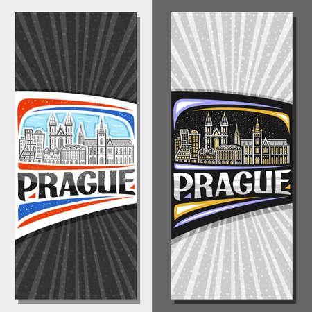 Vector vertical layouts for Prague, decorative flyers with illustration of historical prague city scape on day and dusk sky background, art design tourist card with unique lettering for word prague. Vektoros illusztráció