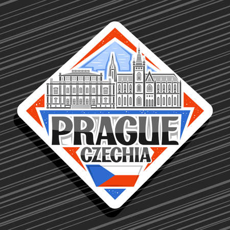 Vector logo for Prague, white rhombus road sign with outline illustration of prague city scape on day sky background, decorative fridge magnet with unique lettering for black words prague, czechia.
