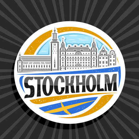 Vector logo for Stockholm, white decorative tag with outline illustration of stockholm city scape on day sky background, art design tourist fridge magnet with unique lettering for black word stockholm