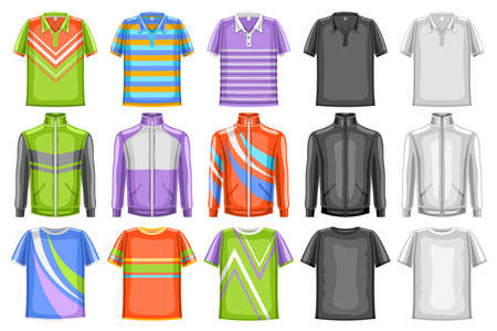 Vector set of Sport Clothes, 15 cut out illustrations of multi colored, black and white sports wear for fitness or workout, gym training clothes set for sporting goods store of athletic or urban style