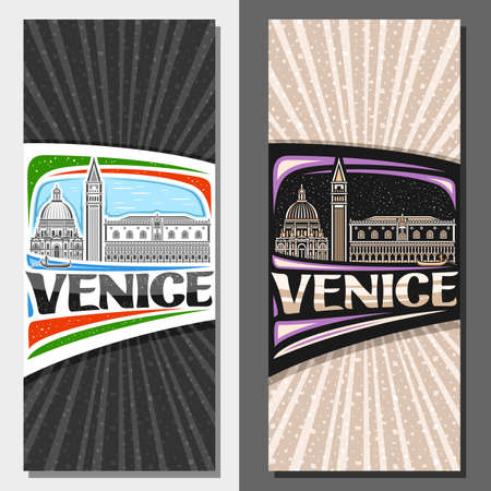 Vector vertical templates for Venice, decorative flyers with illustration of historical venice city scape on day and dusk sky background, art design tourist card with unique lettering for word venice. Vector Illustration
