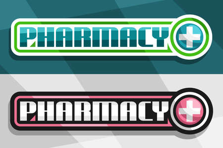 Vector banners for Pharmacy, white and black decorative sign boards with unique lettering for word pharmacy and drug store symbol - cross in circle on green and gray abstract background.