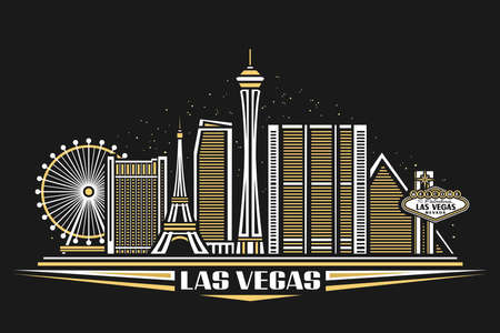 Las Vegas, horizontal poster with simple design buildings and outline landmarks, urban concept with modern city scape and decorative font for words las vegas on dark background.