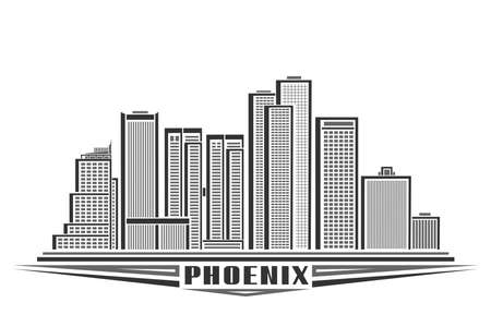 Vector illustration of Phoenix City, horizontal monochrome poster with line art design phoenix city scape, urban american concept with unique decorative font for black word phoenix on white background